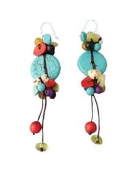 Aeravida | Multicolor Nice Handmade Turquoise Multi-stone .925 Silver Earrings | Lyst