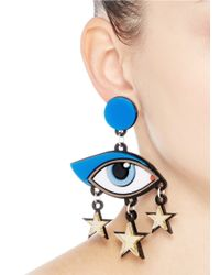 Yazbukey - Multicolor 'bette Davis Eyes' Plexiglas Clip Earrings - Lyst