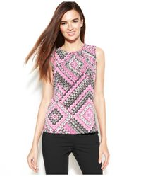Calvin Klein - Multicolor Petite Sleeveless Exotic-Print Top - Lyst