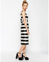 ASOS | White Candy Stripe Pencil With Bow Back | Lyst