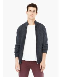 Mango - Gray Textured Wool-blend Cardigan for Men - Lyst