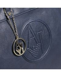Armani Jeans | Blue Handbag Bag Ecoleather With Logo Impresso E Charms Shopping | Lyst