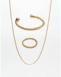 ASOS | Metallic Twisted Bangle Ring And Neckchain Pack for Men | Lyst