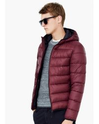 Mango - Purple Quilted Hooded Coat for Men - Lyst