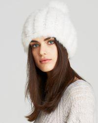 Maximilian | White Maximilian Knitted Mink Hat | Lyst