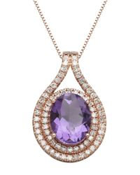 Lord & Taylor | Pink 14k Rose Gold Amethyst And Diamond Pendant Necklace | Lyst