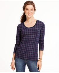 Tommy Hilfiger | Blue Plaid Long-sleeve Tee | Lyst