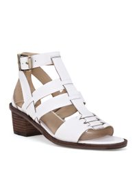Elliott Lucca | White Lena Leather Block Heel Sandals | Lyst