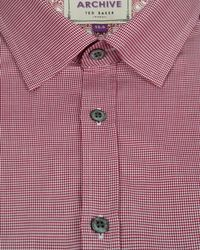 Ted Baker | Red Fine Check Shirt for Men | Lyst