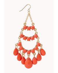 Forever 21 - Red Faux Stone Chandelier Earrings - Lyst