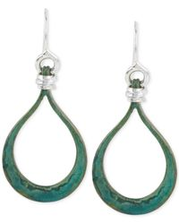 Robert Lee Morris | Green Silver-tone Wire-wrapped Patina Teardrop Earrings | Lyst