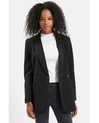 TOPSHOP | Black '70s Twill Longline Jacket | Lyst