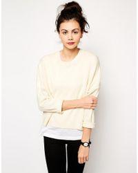 Monki - Natural Drop Sleeve Crew Neck Sweater - Lyst