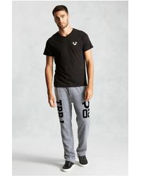 True Religion | Black Hand Picked Flocked Logo Vneck Mens T-shirt for Men | Lyst