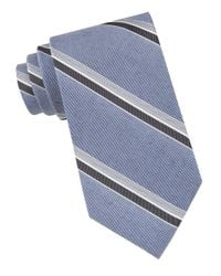 Calvin Klein | Blue Silk-blend Stripe Tie for Men | Lyst