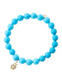 Sydney Evan | Blue 8mm Turquoise Beaded Bracelet With 14k Gold/diamond Medium Ladybug Charm (made To Order) | Lyst