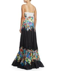 Roberto Cavalli - Black Sleeveless Floral-embroidered V-neck Gown - Lyst