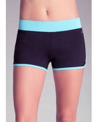 Bebe - Blue Colorblock Running Shorts - Lyst