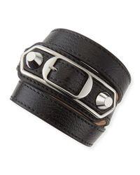 Balenciaga | Black Classic Leather Wrap Bracelet for Men | Lyst