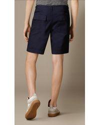 Burberry | Blue Raw Denim Utility Shorts for Men | Lyst