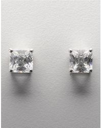 Lord & Taylor | Metallic Platinum Plated Sterling Silver Square Signity Cubic Zirconia Basket Set Stud Earrings | Lyst