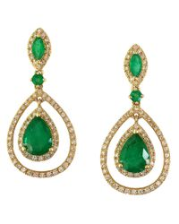 Effy | Green Brasilica Emerald, Diamond And 14k Yellow Gold Earrings | Lyst