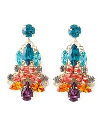 Anton Heunis - Metallic Swarovski Crystal Glass Stone Leather Cord Chandelier Earrings - Lyst