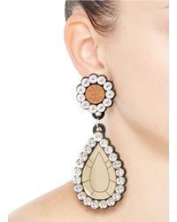 Yazbukey - Multicolor 'gold Diamonds' Gemstone Plexiglas Clip Earrings - Lyst