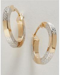 Lord & Taylor | Metallic 14k Gold Two-tone Hoop Earrings | Lyst