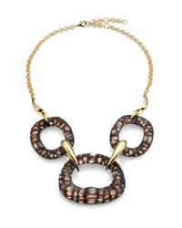 Alexis Bittar | Metallic Kinshasa Crocodile-Textured Lucite Link Bib Necklace for Men | Lyst