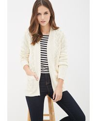 Forever 21 | White Cable Knit Cardigan You've Been Added To The Waitlist | Lyst