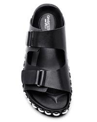 Giambattista Valli - Birken Sandals in Black Leather with Nickel Grommets - Lyst