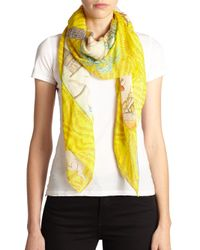 Swash London - Yellow Candy Land Map Cotton & Silk Scarf - Lyst