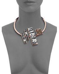 Eddie Borgo | Pink Zebra & Leopard Jasper Composition Collar Necklace | Lyst