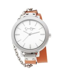 Jessica Simpson - Womens Brown Leather Double Wrap Strap Watch 40mm Js020h - Lyst