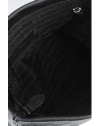 Emporio Armani | Black Leather Flat Messenger Bag for Men | Lyst