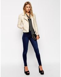 ASOS - Blue Leather Look Biker Jacket With Structured Shoulder And Multi Stitch - Lyst