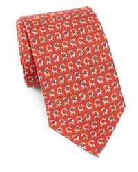 Ferragamo | Red Giraffe & Hula Hoop Silk Tie for Men | Lyst