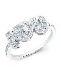 Anne Sisteron | Metallic 14kt White Gold Diamond I-heart-u Ring | Lyst