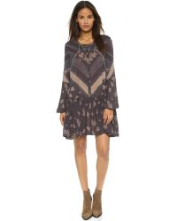 Free People - Blue From Your Heart Print Dress - Midnight Combo - Lyst