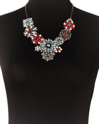 G-Lish - Metallic Gunmetal  Blue Floral Necklace - Lyst