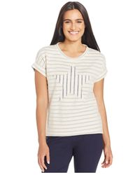 Style & Co. | Natural Petite Embroidered-trim Peasant Top | Lyst