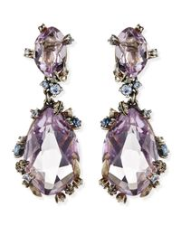 Alexis Bittar Fine - Purple Cool Heather Marquise Large 2-Stone Amethyst Clip Earrings - Lyst