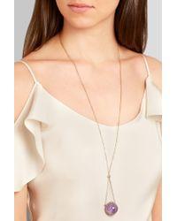 Noor Fares - Metallic 18-karat Gray Gold, Amethyst And Diamond Necklace - Lyst