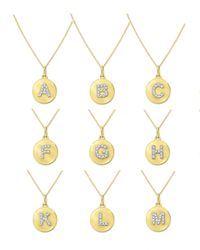 KC Designs   14k Yellow Gold Diamond Disc Initial Necklace   Lyst