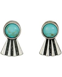 Lucky Brand - Metallic Turquoise Feather Stud Earrings - Lyst