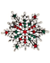 John Lewis | Metallic Silver Plated Glass Stone Christmas Snowflake Brooch | Lyst