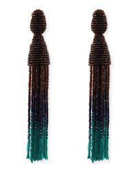 Oscar de la Renta   Multicolor Long Ombre Bead Tassel Clipon Earrings   Lyst