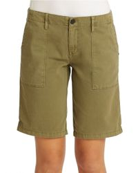 Sanctuary - Green Cotton Bermuda Shorts - Lyst
