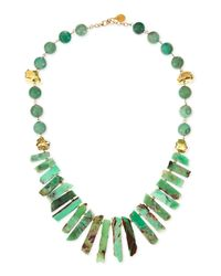 Devon Leigh - Blue Long Chrysoprase Spike & Gold-dipped Nugget Necklace - Lyst